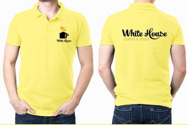 Đồng phục áo thun quảng cáo cổ trụ màu vàng White House