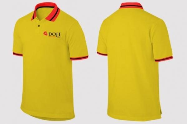 Đồng phục áo thun cổ bẻ phối màu đỏ vàng Doji