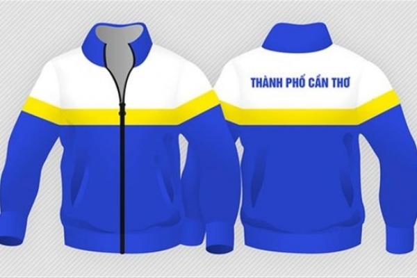 Áo khoác đồng phục bảo hộ xanh dương phối trắng vàng