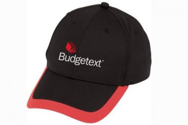 Nón kết đồng phục quảng cáo đen viền đỏ Budgetext