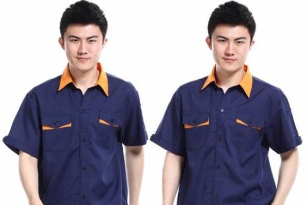 Đồng phục bảo hộ lao động tay ngắn phối màu xanh cam