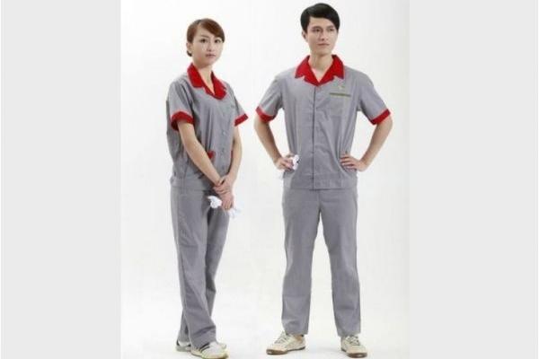 Đồng phục bảo hộ lao động công ty tay ngắn phối màu xám đỏ