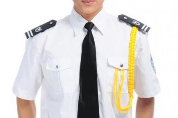 Đồng phục bảo vệ tay ngắn màu trắng kèm cavat đen