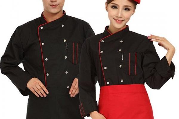 Đồng phục đầu bếp tay dài phối màu đen đỏ kèm nón và tạp dề
