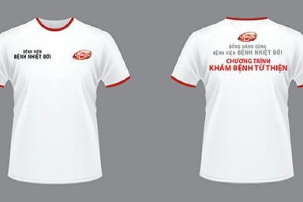 Đồng phục áo thun tay ngắn cổ tròn màu trắng viền đỏ