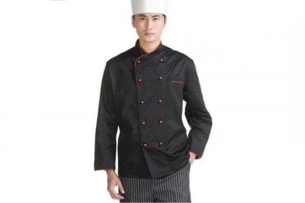 Đồng phục đầu bếp tay dài màu đen viền đỏ