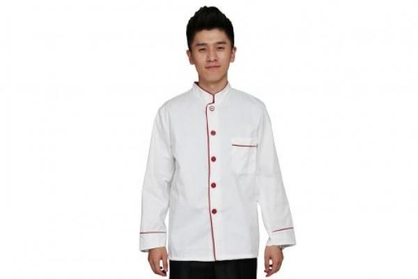 Đồng phục đầu bếp tay dài màu trắng viền đỏ