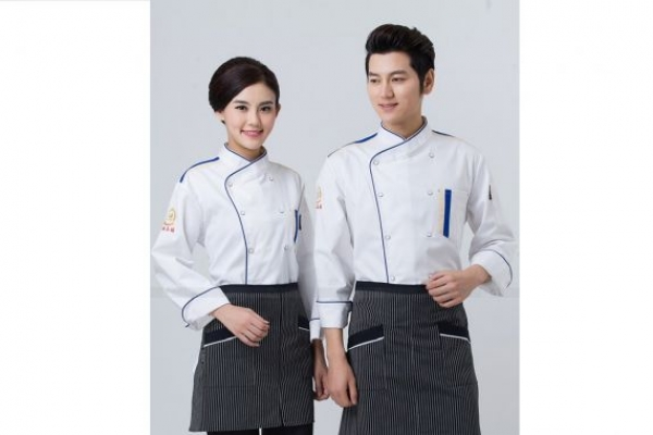 Đồng phục đầu bếp tay dài màu trắng viền xanh dương