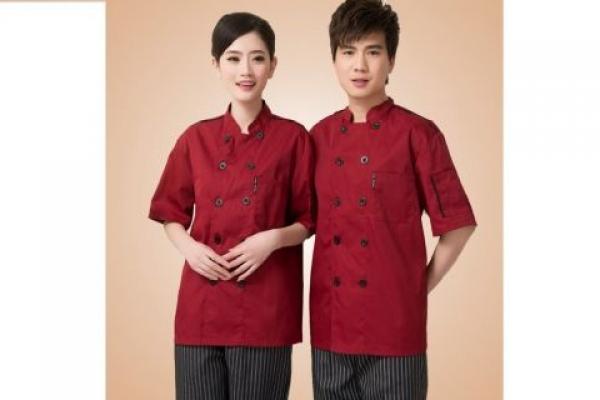 Đồng phục đầu bếp tay ngắn màu đỏ đô