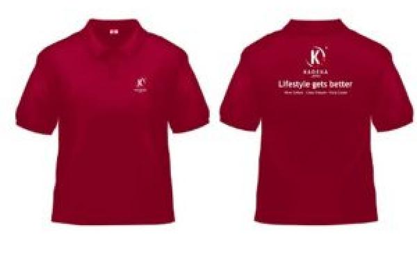 Đồng phục áo thun quảng cáo cổ trụ màu đỏ