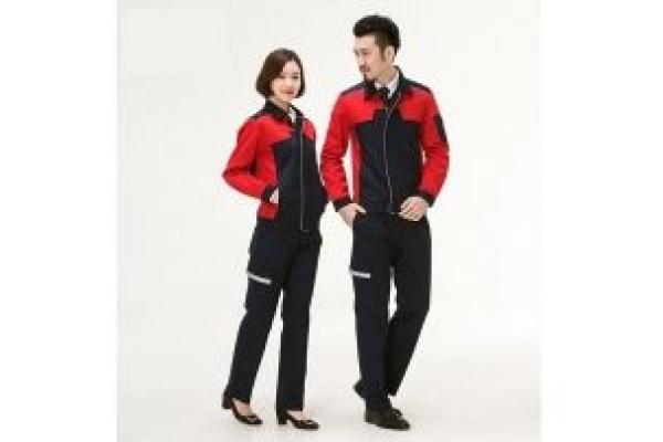 May đồng phục bảo hộ tay dài màu đỏ phối đen