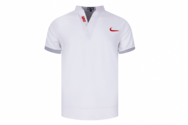 Đồng phục áo thun cá sấu cổ trụ Nike màu trắng