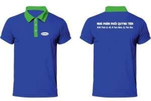 Đồng phục áo thun quảng cáo cổ trụ tay ngắn màu xanh Vinamilk