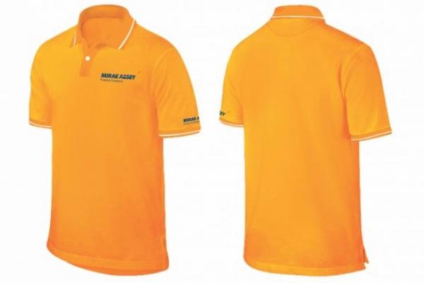 Đồng phục áo thun cổ trụ cho nhân viên màu cam vải cá sấu