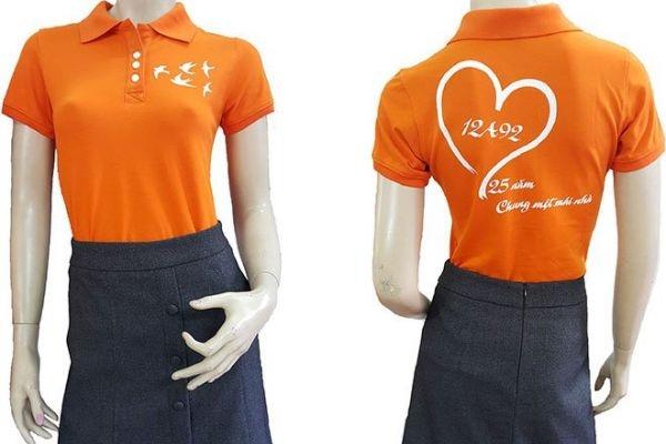 Đồng phục áo thun sự kiện nữ cổ trụ màu cam