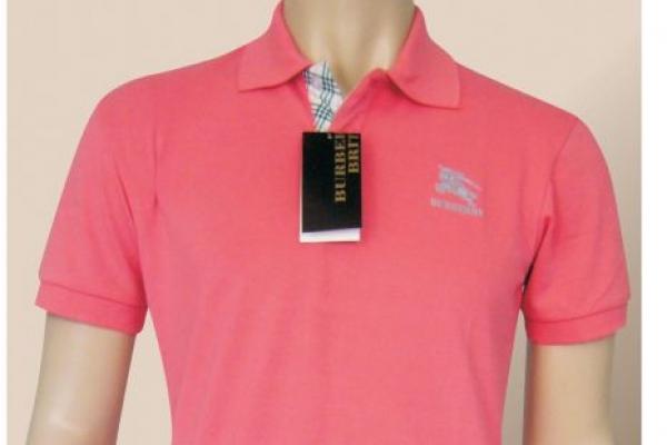 Đồng phục áo thun cổ trụ màu hồng vải cá sấu